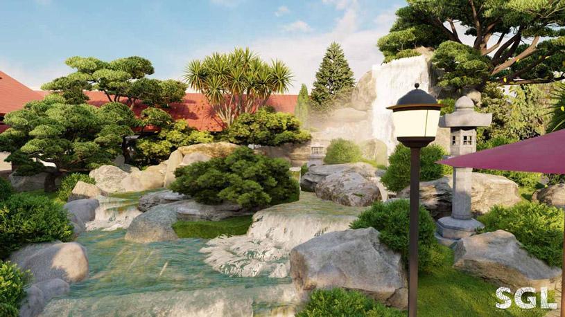 Một góc quán café vườn Nhật tại trạm dừng chân Phúc – Lộc – Thọ, Bình Phước