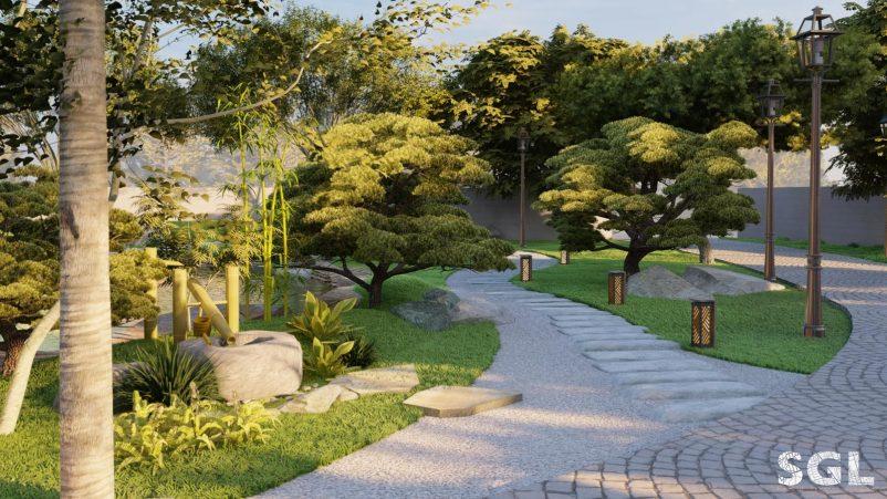 Vườn Nhật với đầy đủ các yếu tố: cây, đá, nước, lối đi,...